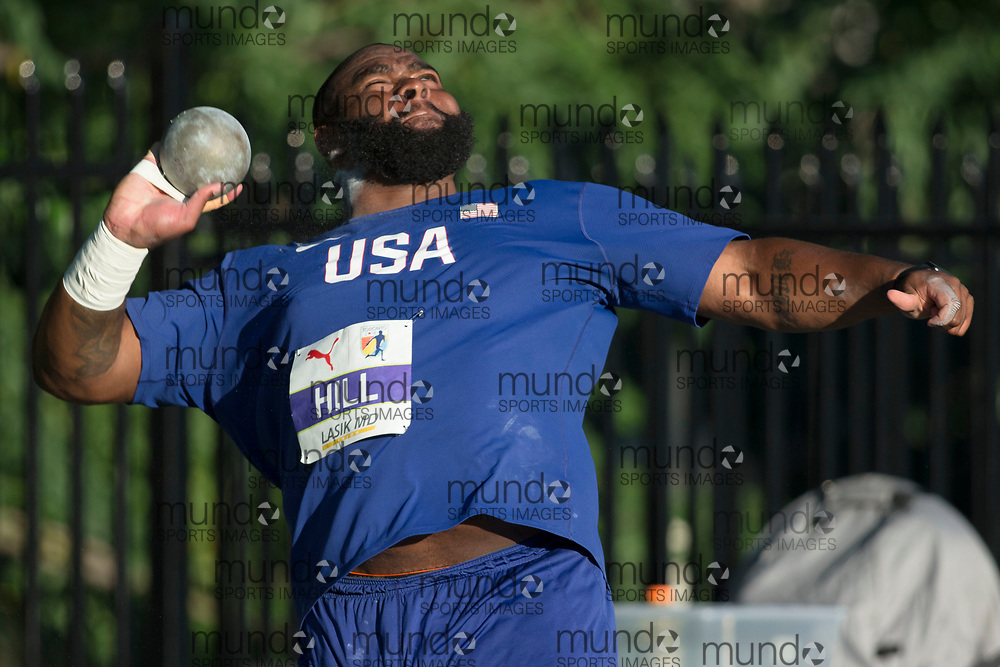 Toronto, ON -- 10 August 2018: Darrel Hill (USA), gold in shot put, championship record of 21.68m at the 2018 North America, Central America, and Caribbean Athletics Association (NACAC) Track and Field Championships held at Varsity Stadium, Toronto, Canada. (Photo by Sean Burges / Mundo Sport Images).