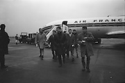 Irish Rugby Football Union, Ireland v France, Five Nations, French team arrive at Dublin Airport, Dublin, Ireland, Thursday 21st January, 1965,.21.1.1965, 1.21.1965,..Referee- D G Walters, Welsh Rugby Union, ..Score- Ireland 3 - 3 France, ..French Team, ..P Dedieu, Wearing number 15 French jersey, Full Back, A S Biterroise Rugby Football Club, France,. .J Gachassin, Wearing number 11 French jersey, Left Wing, F.C Lourdais Rugby Football Club, France, ..G Boniface, Wearing number 12 French jersey, Left Centre, Stade Montois Rugby Football Club, France,..J Pique, Wearing number 13 French jersey, Right Centre, S Paloise Rugby Football Club, France,..C Darrouy, Wearing number 14 French jersey, Right Wing, Stade Montois Rugby Football Club, France,..J Capdouze, Wearing number 10 French jersey, Stand Off, S Paloise Rugby Football Club, France,..L Camberabero, Wearing number 9 French jersey, Scrum Half, La Voulte Sportif Rugby Football Club, France,..J Berejnoi, Wearing number 1 French jersey, Forward, S C Tulliste Rugby Football Club, France,..J Cabanier, Wearing number 2 French jersey, Forward, U S Montalbanaise Rugby Football Club, France,..A Gruarin, Wearing number 3 French jersey, Forward, R.C Toulonnais Rugby Football Club, France,..W Spanghero, Wearing number 4 French jersey, Forward, R.C Narbonnais Rugby Football Club, France,..D Dauga, Wearing number 5 French jersey, Forward, Stade Montois Rugby Football Club, France,..M Lira, Wearing number 6 French jersey, Forward, La Voulte Sportif Rugby Football Club, France,..A Herrero, Wearing number 8 French jersey, Forward, R.C Toulonnais Rugby Football Club, France,..M Crauste, Wearing number 7 French jersey, Captain of the French team, Forward, F.C Lourdais Rugby Football Club, France, .  Irish Rugby Football Union, Ireland v France, Five Nations, French team practice at College Park, Dublin, Ireland, Friday 22rd January, 1965,.22.1.1965, 1.22.1965,..Referee- D G Walters, Welsh Rugby Union, ..Score- Ireland 3 - 3 France,