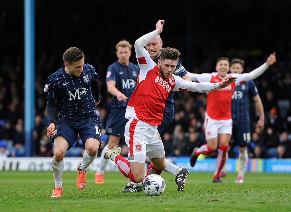 Fleetwood Town's Wes Burns goes down in the area under pressure from Adam Barrett<br /> <br /> Photographer Ashley Western/CameraSport<br /> <br /> Football - The Football League Sky Bet League One - Southend United v Fleetwood Town - Saturday 9th April 2016 - Roots Hall - Southend <br /> <br /> © CameraSport - 43 Linden Ave. Countesthorpe. Leicester. England. LE8 5PG - Tel: +44 (0) 116 277 4147 - admin@camerasport.com - www.camerasport.com