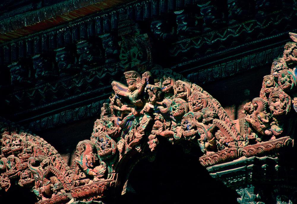 Ornate temple carving, Patan, Nepal