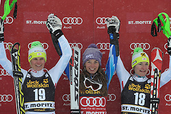 07.12.2012, Engiadina Rennstrecke, St. Moritz, SUI, FIS Ski Alpin Weltcup, Super Combination, Damen, Podium, im Bild Nicole Hosp (L. AUT), Tina Maze (M.SLO) und Kathrin Zettel (R.AUT) waehrend der Siegerehrung // celebrate on Podium of ladies Super Combined of FIS ski alpine world cup at the Engiadina course, St. Moritz, Switzerland on 2012/12/07. EXPA Pictures © 2012, PhotoCredit: EXPA/ Freshfocus/ Andreas Meier..***** ATTENTION - for AUT, SLO, CRO, SRB, BIH only *****
