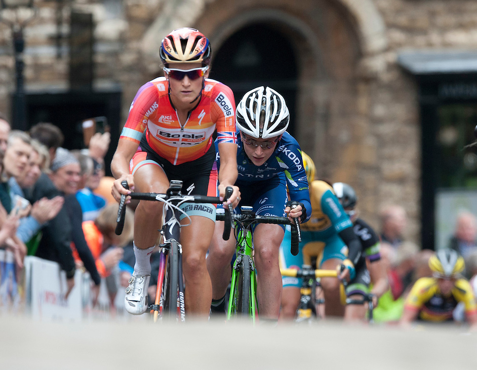 Laura Trott (Matrix Fitness), right, on the tail of Lizzie Armitstead (Boels Dolmans Cycling Team) through Wordsworth Street<br /> <br /> Photographer Chris Vaughan/CameraSport <br /> <br /> Cycling - 2015 British Cycling Road Championships - Sunday 28th June 2015 - Lincoln<br /> <br /> © CameraSport - 43 Linden Ave. Countesthorpe. Leicester. England. LE8 5PG - Tel: +44 (0) 116 277 4147 - admin@camerasport.com - www.camerasport.com