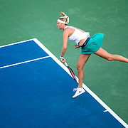 August 25, 2016, New Haven, Connecticut: <br /> Petra Kvitova of the Czech Republic in action during Day 7 of the 2016 Connecticut Open at the Yale University Tennis Center on Thursday, August  25, 2016 in New Haven, Connecticut. <br /> (Photo by Billie Weiss/Connecticut Open)
