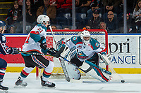 KELOWNA, CANADA - JANUARY 3: James Porter #1 of the Kelowna Rockets makes a save against the Tri-City Americans on January 3, 2017 at Prospera Place in Kelowna, British Columbia, Canada.  (Photo by Marissa Baecker/Shoot the Breeze)  *** Local Caption ***