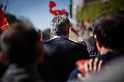 Maurizio Landini durante la manifestazione nazionale della Fiom contro le politiche del governo, Roma 28 Gennaio 2015. Christian Mantuano / OneShot  <br /> <br /> Maurizio Landini, the leader of the FIOM metalworkers union (C), takes part in a rally in downtown Rome, March 28, 2015. Christian Mantuano / OneShot