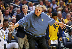 Jan 12, 2019; Morgantown, WV, USA; West Virginia Mountaineers head coach Bob Huggins reacts after a call during the second half against the Oklahoma State Cowboys at WVU Coliseum. Mandatory Credit: Ben Queen-USA TODAY Sports