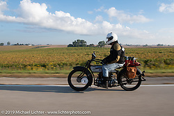 Mark Hill riding his 1917 Henderson on the Motorcycle Cannonball coast to coast vintage run. Stage 7 (274 miles) from Cedar Rapids to Spirit Lake, IA. Friday September 14, 2018. Photography ©2018 Michael Lichter.