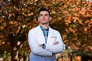 Taylor Nichols, an emergency physician at Mercy San Juan Medical Center, poses for a portrait at McKinley Park in Sacramento, Calif. on Monday November 30, 2020. Taylor Nichols is a Jewish ER doctor, from the Bay Area, now at a hospital near Sacramento who wrote a gut-wrenching twitter post about treating a Nazi guy who likely had covid and his hesitancy and exhaustion.
