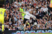 LONDON, ENGLAND - MAY 14:LONDON, ENGLAND - MAY 14:Richard keogh, of Derby County, gets to a header before Fulham's Aleksandar Mitrovic