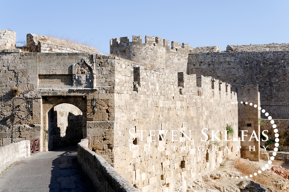 Rhodes Greece. Gate of Saint Athanasios built between 1441 and 1442 and one of the 11 gates that give access to Rhodes old town.