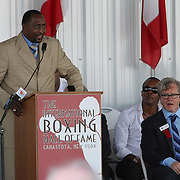 """Inductee and boxer Thomas """"Hitman"""" Hearns gives his induction speech during the 23rd Annual International Boxing Hall of Fame Induction ceremony at the International Boxing Hall of Fame on Sunday, June 10, 2012 in Canastota, NY. (AP Photo/Alex Menendez)"""