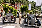 Como, Italy, Concorso d'Eleganza Villa D'Este, from left, Bugatti 57 Atlante and Lancia Astura serie III