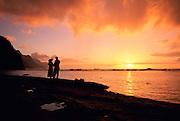 Sunset, Ke'e Beach, Kauai, Hawaii, USA<br />