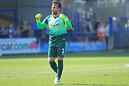 Josh Lillis celebrates at the final whistle during the EFL Sky Bet League 1 match between Rochdale and Wycombe Wanderers at Spotland, Rochdale, England on 19 April 2019.