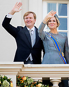 Prinsjesdag 2017, de dag waar de Koning in de Staten-Generaal van het Koninkrijk der Nederlanden in verenigde vergadering bijeen de troonrede uit.<br /> <br /> Prinsjesdag 2017, Opening of the parliamentary year<br /> <br /> op de foto:  Koning Willem Alexander en Koningin Maxima