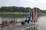 Ottensheim, AUSTRIA.  A  Final,  USA JM8+   Silver Medallist, Watch the national flags be raised, at the 2008 FISA Senior and Junior Rowing Championships,  Linz/Ottensheim. Saturday,  26/07/2008.  [Mandatory Credit: Peter SPURRIER, Intersport Images] Rowing Course: Linz/ Ottensheim, Austria
