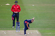 England womens cricket player Katherine Brunt bowls Pakistan womens cricket player Javeria Wadood  during the ICC Women's World Cup match between England and Pakistan at the Fischer County Ground, Grace Road, Leicester, United Kingdom on 27 June 2017. Photo by Simon Davies.