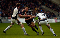 Photo: Jed Wee.<br />Newcastle Falcons v Leeds Tykes. Guinness Premiership. 06/05/2006.<br /><br />Newcastle's Mike McCarthy is tackled. *** Local Caption ***