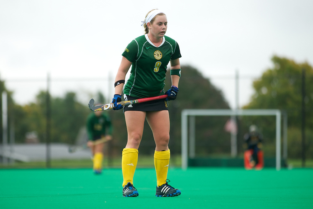 Catamounts forward Colleen Slaughter (9) in action during the women's field hockey game between the Maine Black Bears and the Vermont Catamounts at Moulton/Winder Field on Saturday afternoon September 29, 2012 in Burlington, Vermont.
