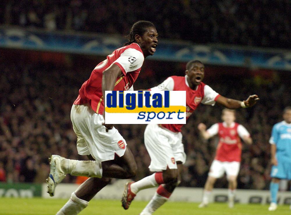 Photo: Olly Greenwood.<br />Arsenal v PSV Eindhoven. UEFA Champions League. Last 16, 2nd Leg. 07/03/2007. Arsenal's Emmanuel Adebayor celebrates scoring