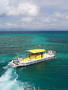 The semi-submarine takes tourists on a reef tour at Green Island, along the Great Barrier Reef, near Cairns, QLD, Australia.