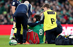 Ireland's Caelan Doris is seen to after sustaining an injury during the Guinness Six Nations match at the Aviva Stadium, Dublin.