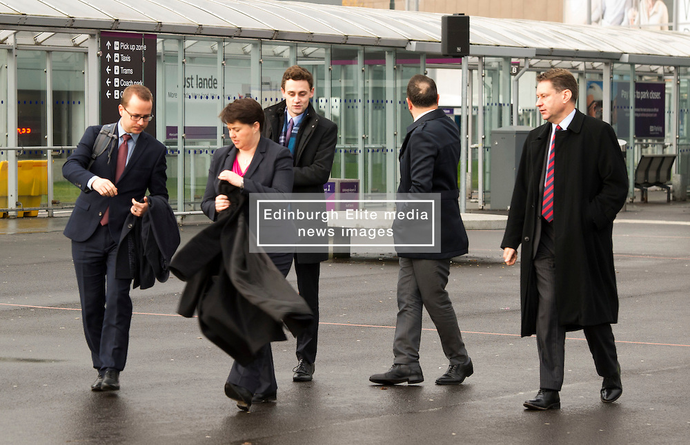 Pictured: Ruth Davidson gets ready to meet the media<br /> <br /> Scottish Conservatives leader Ruth Davidson and shadow finance secretary Murdo Fraser headed to Edinburgh Airport to meet Ahmet Serhat Sari, Turkish Airlines General manager for Scotland, 4 years after the airline opened up the route from the capital to Ankera. Ms Davison was keen to discuss the expansion of the Scottish economy.<br /> <br /> Ger Harley | EEm 9 December 2016