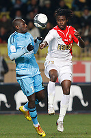 FOOTBALL - FRENCH CHAMPIONSHIP 2009/2010 - L1 - AS MONACO v OLYMPIQUE MARSEILLE - 13/02/2010 - PHOTO PHILIPPE LAURENSON / DPPI - MAMADOU NIANG (OM) / NICOLAS NKOULOU NDOUBENA (ASM)