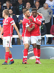 Barnsley's Devante Cole celebrates scoring the first goal of the game - Photo mandatory by-line: Joe Dent/JMP - Mobile: 07966 386802 - 18/10/2014 - SPORT - Football - Peterborough - London Road Stadium - Peterborough United v Barnsley - Sky Bet League One
