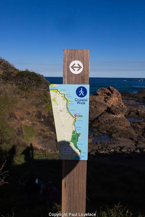Nobbys Beach, Port Macquarie, a local dog friendly beach. Beach signage showing costal walk.