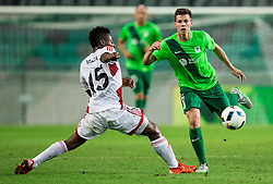 Kingsley Madu of AS Trencin vs Miha Zajc of NK Olimpija during 1st Leg football match between NK Olimpija Ljubljana (SLO) and FK AS Trenčin (SVK) in Second Qualifying Round of UEFA Champions League 2016/17, on July 13, 2016 in SRC Stozice, Ljubljana, Slovenia. Photo by Vid Ponikvar / Sportida