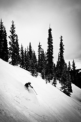Wendy Akerly making turns on Blueberry Hill, Wolf Creek CO