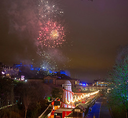 Nine o'clock fireworks. Hogmanay in Edinburgh.