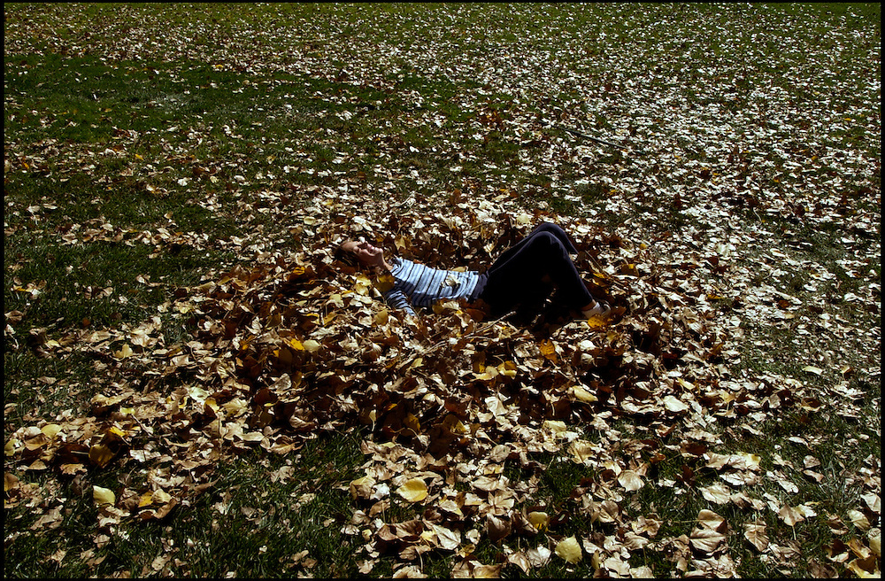 .11-year-old Aspen Hahn rests for a moment in a pile of leaves at Paradise Hills Park on Monday morning. Aspen and her brother Wesley and mother Kathy had taken a field trip to the park because they have no trees in their own yard. The children are home schooled.