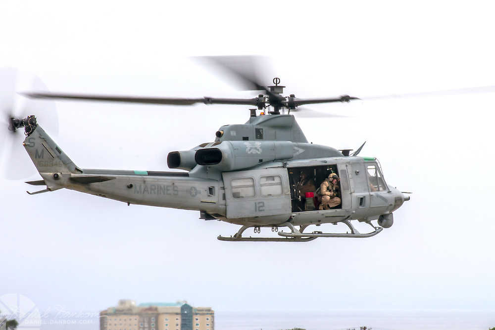 USMC UH-1 Huey Helicopter, take-off, MRY, Monterey, California