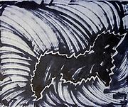 Black pen on cardboard