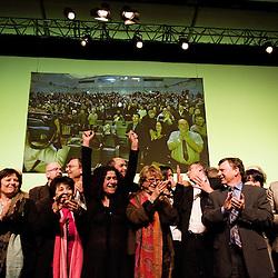 Meeting d'Europe Ecologie pour la liste regionale de Jacques Finique. La deputee europeenne et presidente du mouvement CAP 21 Corinne Lepage y tient un discours. 8 mars 2010. Photo : Antoine Doyen