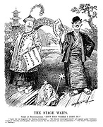 """The Stage Waits. Spirit of Reconciliation. """"Isn't this where I come in?"""" [""""Japan has not recognised the Nanking government...The officially encouraged boycott"""" (of Japanese goods) """"continues to grow in intensity, and altogether relations between the two countries are very uncomfortable."""" - """"The Times'"""" Correspondent at Nanking.] (an InterWar cartoon showing a musical play with China's Nanking Government holding an Anti Japanese Boycott and Japan with a No Recognition fan)"""