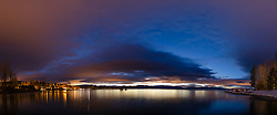 """""""Tahoe City Pier at Sunrise 9"""" - Stitched panoramic photograph of a colorful sky right before sunrise at the pier in Tahoe City, shot from the William B Layton Park."""