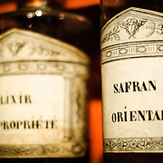Old bottles of elixir and other medicines in the hospital of Hotel Dieu / Hospices de Beune