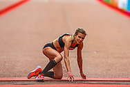 Hayley Carruthers (Great Britain) crawls over the finish line during the Virgin Money 2019 London Marathon, London, United Kingdom on 28 April 2019.