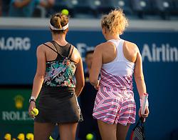 September 5, 2018 - Barbora Krejcikova & Katerina Siniakova of the Czech Republic playing doubles at the 2018 US Open Grand Slam tennis tournament. New York, USA. September 05, 2018. (Credit Image: © AFP7 via ZUMA Wire)