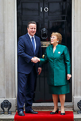 © Licensed to London News Pictures. 13/05/2016. London, UK. Prime Minister David Cameron welcomes Chilean President Michelle Bachelet in Downing Street, London on Friday, 13 May 2016. Photo credit: Tolga Akmen/LNP
