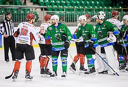 Miha Brus and Andrej Hebar after the ice hockey match between  HK SZ Olimpija and HDD SIJ Acroni Jesenice in 23rd Round of AHL - Alps Hockey League 2017/18, on December 16, 2017 in Hala Tivoli, Ljubljana, Slovenia. Photo by Vid Ponikvar / Sportida