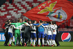 December 5, 2017 - Lisbon, Portugal - Basel's players celebrate the victory after the UEFA Champions League Group A football match between SL Benfica and FC Basel at the Luz stadium in Lisbon, Portugal on December 5, 2017. Photo: Pedro Fiuza (Credit Image: © Pedro Fiuza via ZUMA Wire)