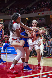 NORMAL, IL - December 20: Simone Goods locks up the ball with Tasia Jefferies during a college women's basketball game between the ISU Redbirds and the St. Louis Billikens on December 20 2018 at Redbird Arena in Normal, IL. (Photo by Alan Look)