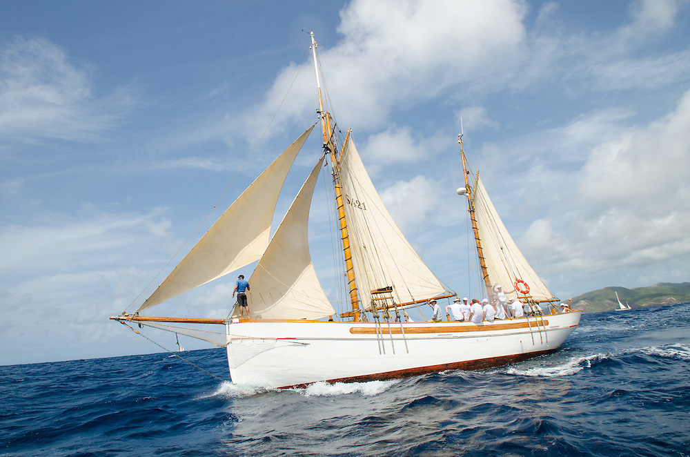 """Samsara.<br /> <br /> Back in the 60s, classic yachts, which were gathered in English Harbour Antigua, had begun chartering and the captains and crews challenged each other to a race down to Guadeloupe and back to celebrate the end of the charter season. From this informal race, Antigua Race Week was formalised in 1967, and in those days all of the yachts were classics. As the years grew on, the classic yachts were slowly outnumbered but the faster sleeker modern racing yachts and 24 years later the Classic Class had diminished to a few boats and was abandoned in 1987. However this same year seven classic yachts turned out and were placed in Cruising Class 3 with the bare boats. The class was so unmatched that it was downright dangerous, so Captain Uli Pruesse hosted a meeting onboard Aschanti of Saba with several classic skippers and in 1988 the Antigua Classic Yacht Regatta was born, with seven boats.<br /> <br /> In 1991, Elizabeth Meyer brought her newly refitted Endeavour and Baron Edmond Rothschild brought his 6-meter Spirit of St Kitts and """"CSR"""" became the first Sponsor and inaugurated the Concours d'Elégance. In 1996 we created the """"Spirit of Tradition Class"""", which has now been accepted all over the world, which gives the """"new"""" classics, built along the lines of the old, a chance to sail alongside their sister ships. In 1999 we celebrated the first race between the J class yachts in 60 years. Mount Gay Rum has sponsored the Regatta for many years, and we have recently added Officine Panerai as our first ever Platinum Sponsor.<br /> <br /> The Antigua Classic Yacht Regatta has maintained a steady growth, hosting between 50 and 60 yachts every year and enjoys a wonderful variety of competitors, including traditional craft from the islands, classic ketches, sloops, schooners and yawls making the bulk of the fleet, together with the stunningly beautiful Spirit of Tradition yachts, J Class yachts and Tall Ships."""