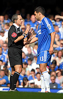 Photo: Ed Godden.<br />Chelsea v Charlton Athletic. The Barclays Premiership. 09/09/2006. Referee Alan Wiley has a word with Chelsea's Michael Ballack.