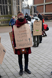 Walk for Freedom in protest at the Police, Crime, Sentencing & Courts Bill, which will restrict the democratic right to peaceful protest. This was a Covid safe walk or sit down in Norwich city centre UK organised by Extinction Rebellion. 27 March 2021