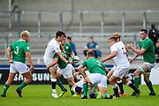 England scrum-half Max Green feeds the ball to hooker Jack Singleton during the World Rugby U20 Championship Final   match England U20 -V- Ireland U20 at The AJ Bell Stadium, Salford, Greater Manchester, England onSaturday, June 25, 2016. (Steve Flynn/Image of Sport)